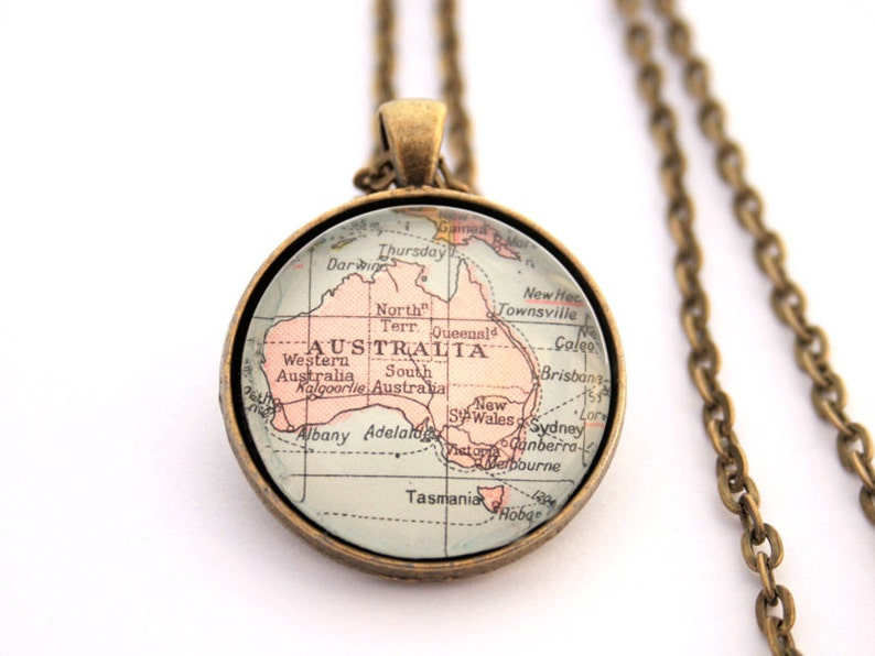 Map Necklace Wanderlust Jewelry I Personalised Coordinates 2. Antique Bronze
