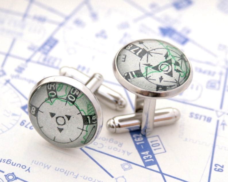 Airplane Cufflinks for Pilot High Altitude Personalized image 0