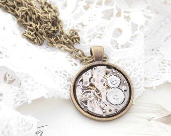 Vintage Watch Pendant Necklace Unisex Jewellery Necklace, Steampunk Necklace Authentic Clockwork Unisex Pendant Jewelry