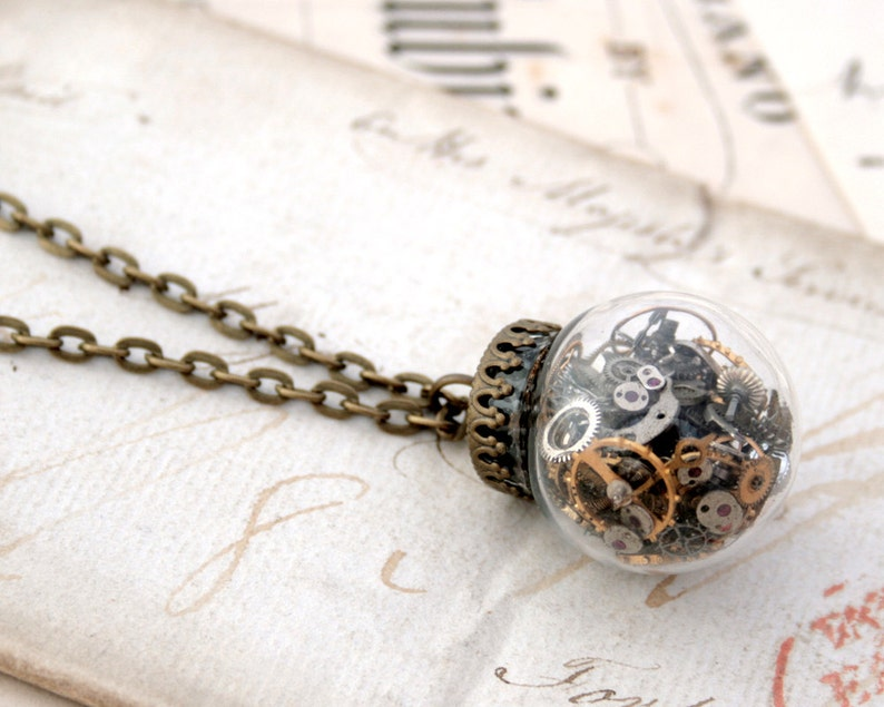 Glass Globe Pendant Necklace Steampunk Jewelry Glass Dome image 0