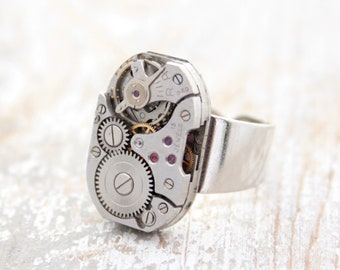Mens Pinky Ring Steampunk Signet Ring, cool gift for boyfriend