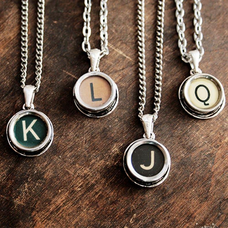 BLACK Typewriter Key Necklace monogram necklace Personalized image 0
