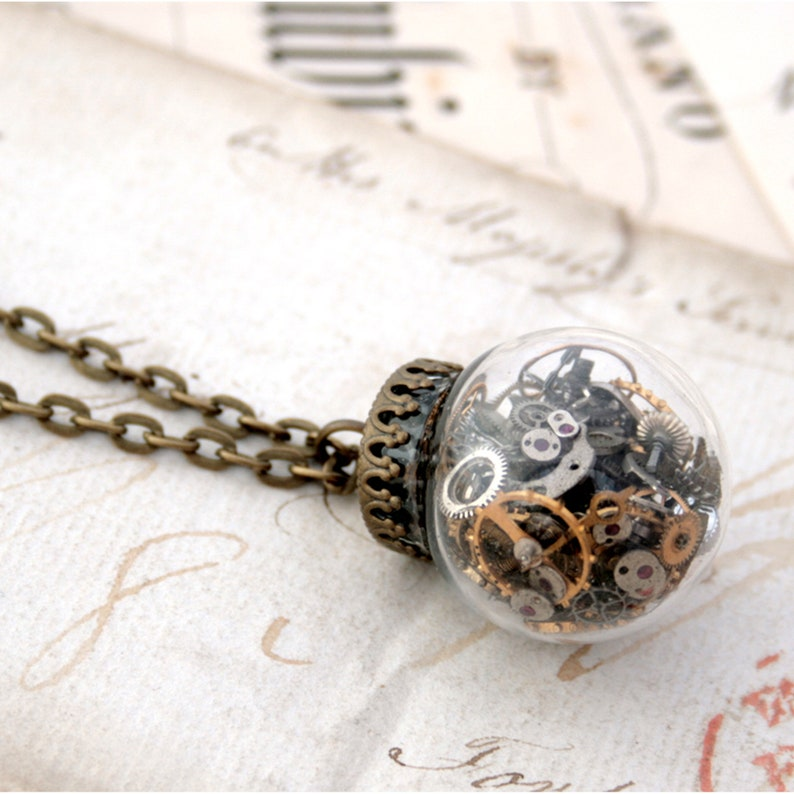 Steampunk Terrarium Necklace  Glass Ball Statement Necklace image 0