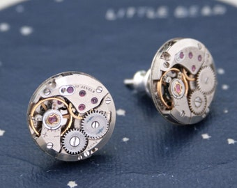 Men's Stud Earrings, large round steampunk post earrings in silver color for men, gift for boyfriend made of real watches