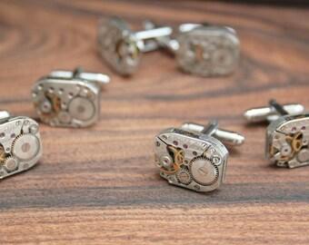 Groomsmen Gifts Cufflinks 3 SETS Groom and Best Man Cuff Links Wedding Gift Cufflinks Steampunk Jewellery Mechanical Vintage Watch Cufflink