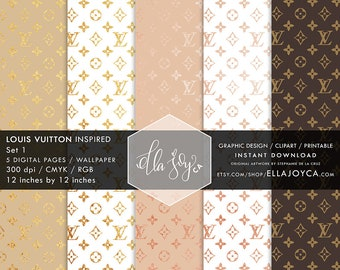 Louis Vuitton Paper Louis Vuitton Print inspired Digital Paper Wallpaper Louis Vuitton Planner Instant Wedding Digital Clipart Bridal