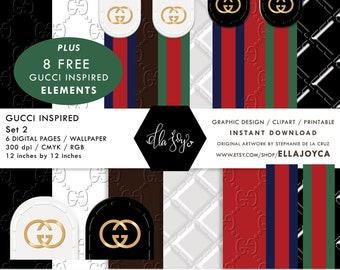 db9d9f50d35fb Gucci Paper Gucci Print inspired Digital Paper Wallpaper Gucci Planner  Instant Wedding Digital Clipart Bridal Gucci double G logo