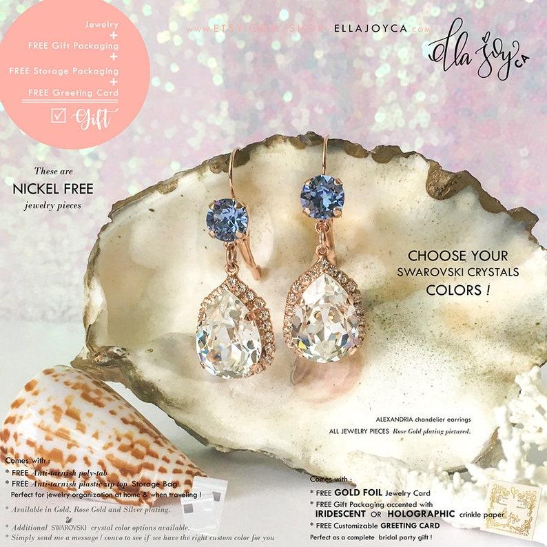 350ec34f8 Swarovski Earrings Dusty Blue Earrings Cinderella Fairytale | Etsy