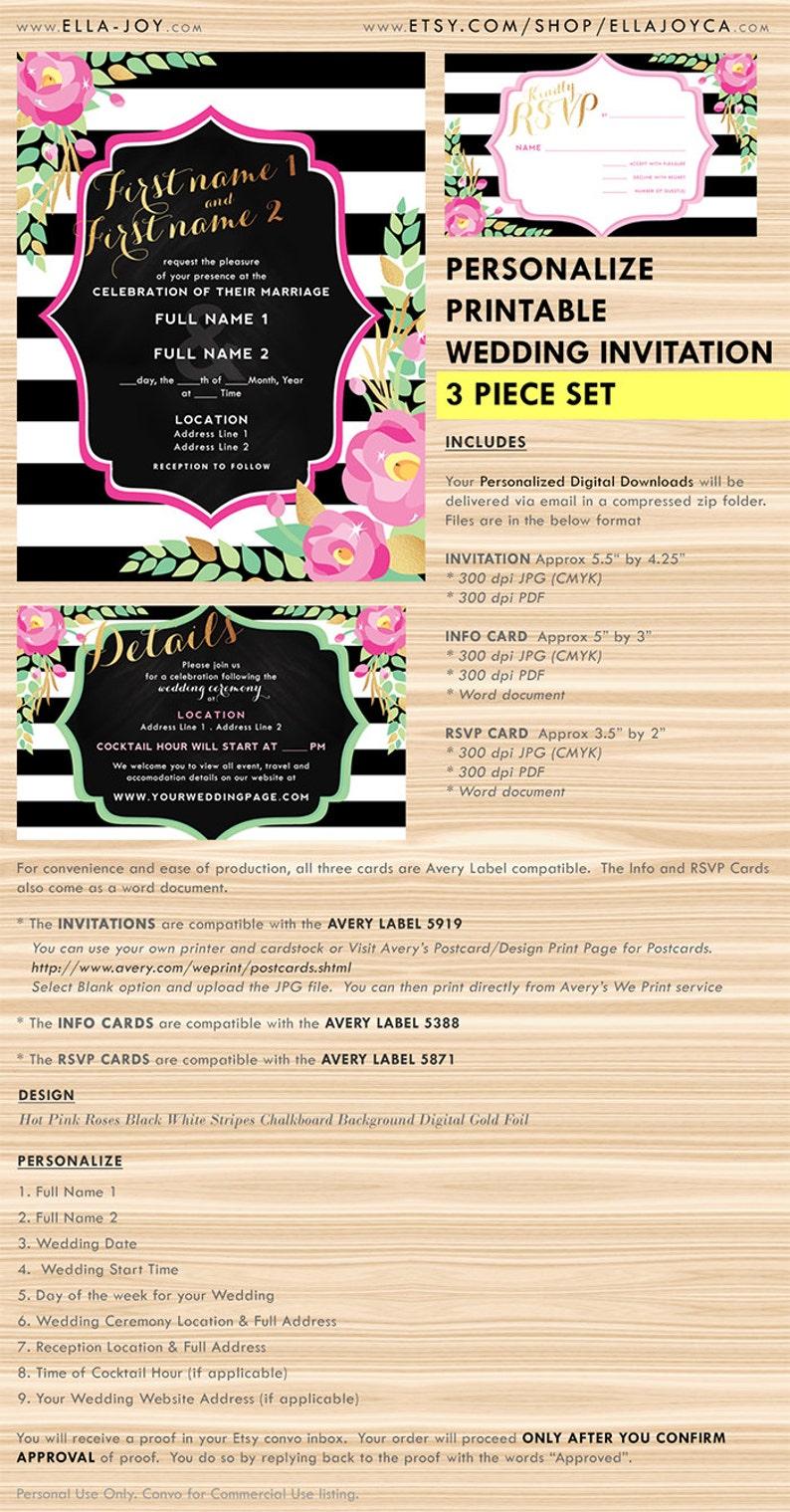 Image 0: Pink And Black Wedding Invitations Blank At Websimilar.org