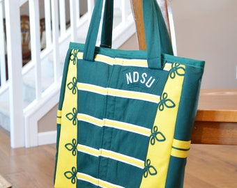 Green & Gold Striped Upcycled NDSU Gold Star Marching Band Uniform Tote Bag - Limited Quantity