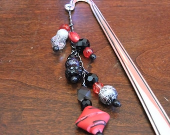 Red & Black Beaded Bookmark - Great for Book Lovers!