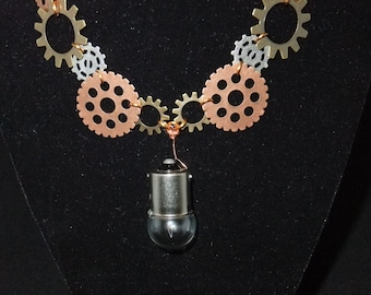 Steampunk Necklace with Large Lightbulb