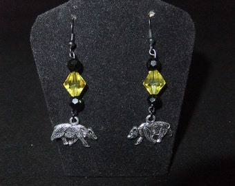 Yellow & Black Hufflepuff Earrings - H2 - Great Gift for Fans of the Books or Movies!