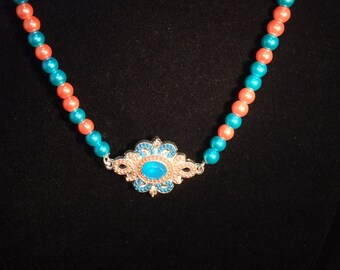 Orange & Turquoise Jeweled Pearl Necklace