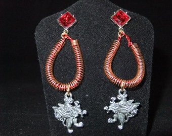 Red & Gold Gryffindor Earrings - G1 - Great Gift for Fans of the Books or Movies!