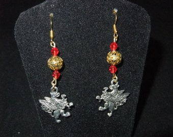 Red & Gold Gryffindor Earrings - G3 - Great Gift for Fans of the Books or Movies!