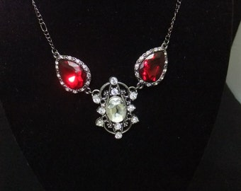 Red & White Jeweled Necklace