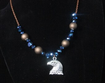 Ravenclaw Blue & Bronze Necklace (R5) - Great Gift for Fans of the Books or Movies!