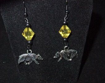 Yellow & Black Hufflepuff Earrings - H3 - Great Gift for Fans of the Books or Movies!