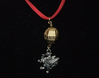 Red & Gold Gryffindor Necklace (G7) - Great Gift for Fans of the Books or Movies!
