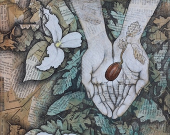 Holding Fire,Acorns,hands,trillium,flowers,oak,spring,leaves,acrylic,drawing,painting,graphite,blue,green,white,seeds,nature,woodland,canvas
