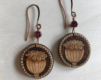 Poppy seed pods,wooden,earrings,pyrography,flowers,botanical,flora,jewelry,garnet,handmade,wearable art style,boho,eco,woodland,fashion