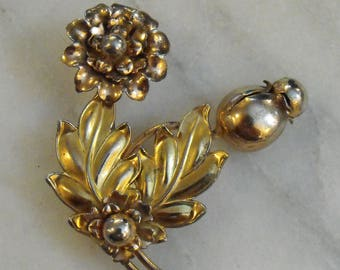 Gold Washed Sterling Silver Flower Brooch