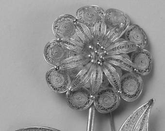 Lacey Sterling Silver Filigree Flower Brooch Wire work