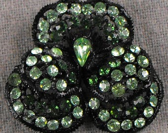 Weiss Pansy Brooch Green Stones on Black