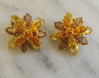 Vintage Austrian Crystal Earrings clip on
