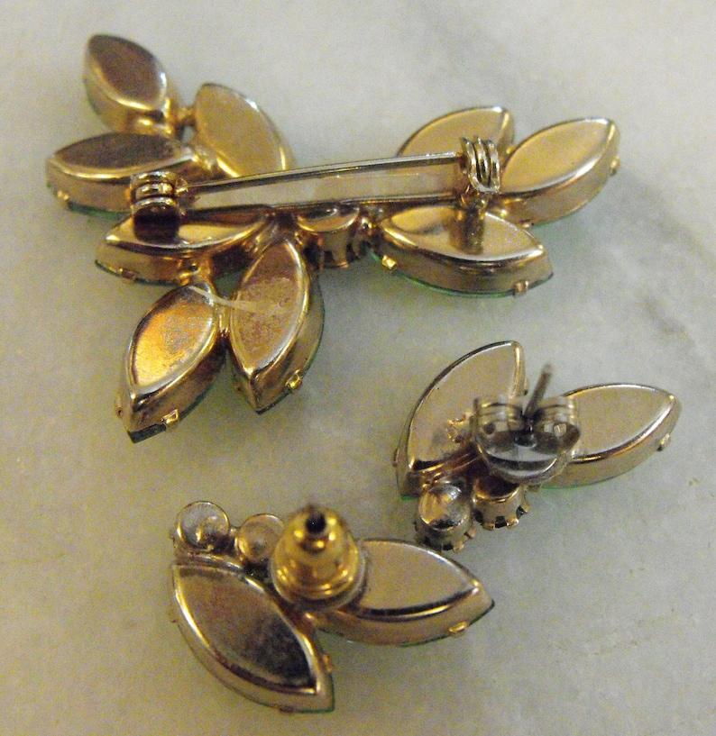 Vintage Faux Citrine Brooch /& Earrings