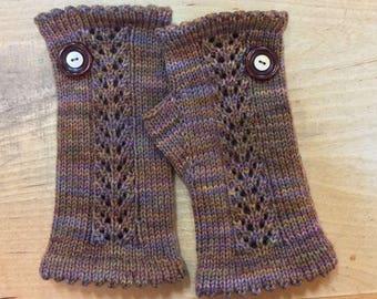 "Women's, hand knit, fingerless gloves, wristlets, brown, gold, superfine merino wool, lace panel.  7"" in length."