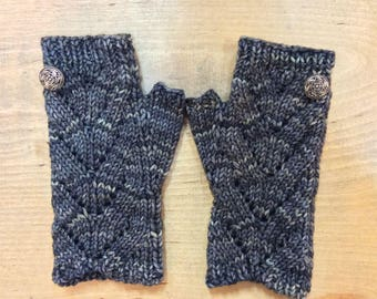 "Women's, hand knit, fingerless gloves, boho, wristlets, blue, gray,  superfine merino wool, cable panel, 7"" in length."