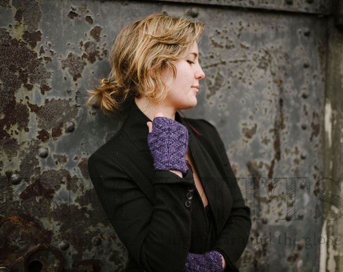 """Featured listing image: Women's, hand knit, fingerless gloves, boho, wristlets, purple, blue, superfine merino wool, cable panel.  7"""" total length."""