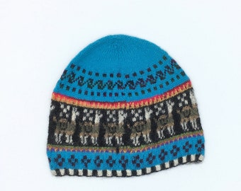 100% Baby Alpaca knit hat, beanie, skull cap, Turquoise , llama motif, for men and women