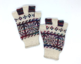 Fingerless Gloves 100% Baby Alpaca hand knit, off-white & multi-colored images of sun motif, great gift for men or women