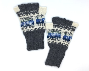 Peruvian Fingerless Gloves 100% Baby Alpaca hand knit, Gray and Off-white with images of llamas, sun motifs, men, women