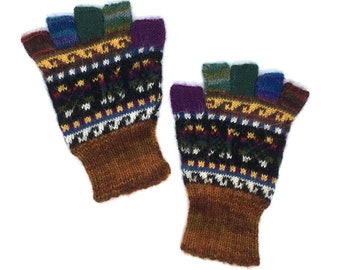 Fingerless Gloves 100% Baby Alpaca hand knit in Peru, multi-colored with images of condor, flower-of-life motif, great gift for men or women