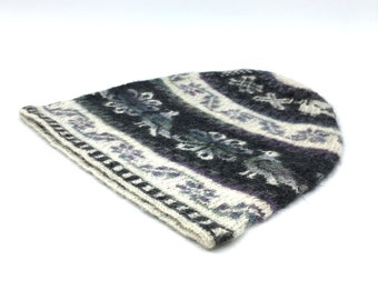 100% Baby Alpaca Peruvian Adult hand knit hat, beanie, skull cap, striped off-white and charcoal, Flower of Life and Condor motifs.