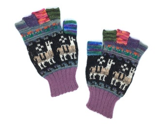 Fingerless Gloves 100% Baby Alpaca hand knit in Peru, purple and black,  images of Llamas, flower-of-life motif, great gift