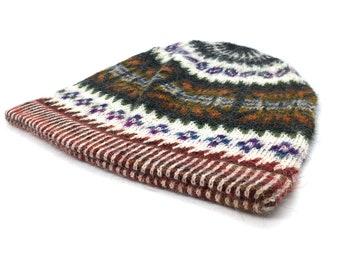 100% Baby Alpaca Peruvian hand knit hat, beanie, warm skull cap, off-white and Charcoal, Sun motif for men, women