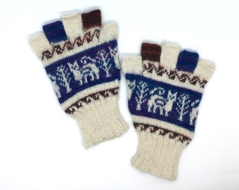 Fingerless Gloves 100% Baby Alpaca hand knit, off-white & Royal Blue images of cat motif, great gift for adults