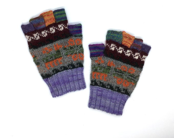 Featured listing image: Fingerless Gloves 100% Baby Alpaca hand knit, purple and green with images of llamas, flower-of-life motifs, great gift for men or women