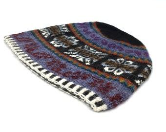 100% Baby Alpaca Peruvian hand knit hat, beanie, skull cap, purple, Sun, Flower-of-Life motif unisex