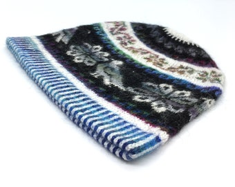 100% Baby Alpaca Peruvian Adult hand knit hat, beanie, skull cap, striped white black and Royal Blue, Flower of Life and Condor motifs.