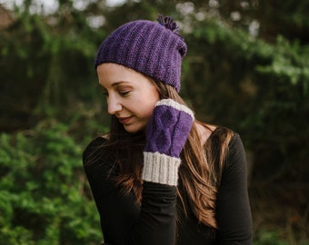 Slouchy Hat, hand knit, Alpaca and Merino, relaxed fit, available in multiple colors, shown in purple.  Soft, warm and breathable. Unisex
