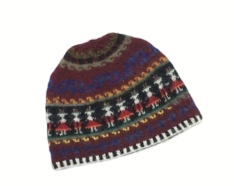 100% Baby Alpaca knit hat, beanie, skull cap, multi colored, community motif for men, women
