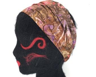 100% Cotton Batik Headband with elastic back, pre-washed cotton, lief motif, yoga headband