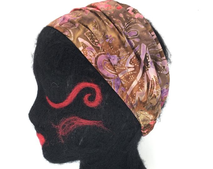 Featured listing image: 100% Cotton Batik Headband with elastic back, pre-washed cotton, lief motif, yoga headband