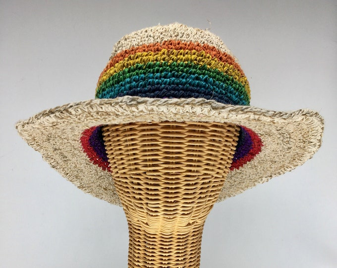 """Featured listing image: 100% hemp straw sun hat rainbow color, 3"""" wire shapable brim.  Ultraviolet light resistant, mold resistant so can be out in rain or shine"""